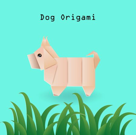 Cute dog origami and grass on green background,vector illustration paper art style.