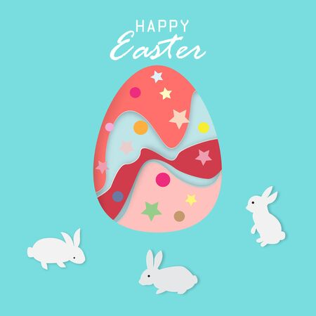 Happy Easter greeting card with cute rabbits and Easter egg,vector illustration paper art style. Ilustração