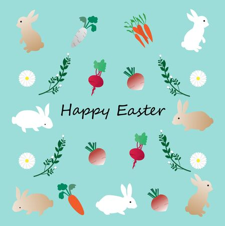 Easter pattern with cute rabbits,daisy and vegetable,vector illustration.