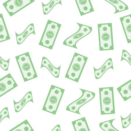 Vector seamless pattern with banknotes on white background. Ilustração
