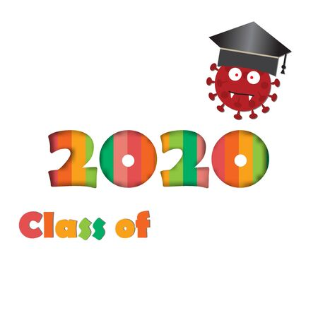 Graduating class of 2020 and corona-virus with graduation cap,vector illustration cartoon style. Ilustração
