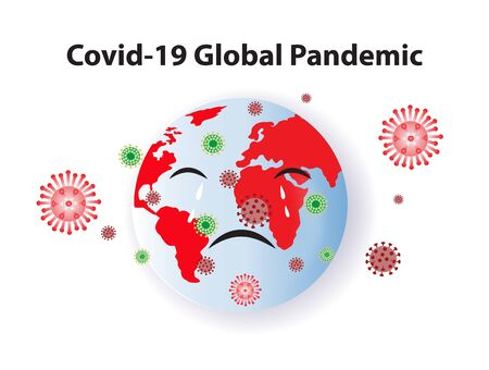 Covid-19 Global Pandemic and globe crying,vector illustration.Covid-19 outbreak around the world.