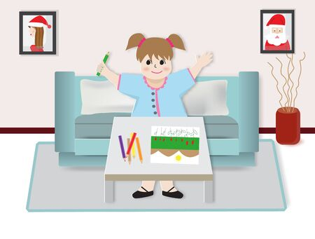 Concept of learning at home during Covid-19,a girl drawing picture,vector illustration.