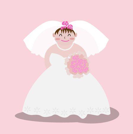 A cute bride and bouquet,vector illustration. Ilustração