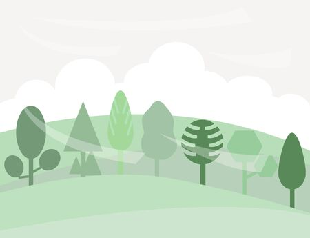 Vector illustration of different trees on hill and blue sky background.