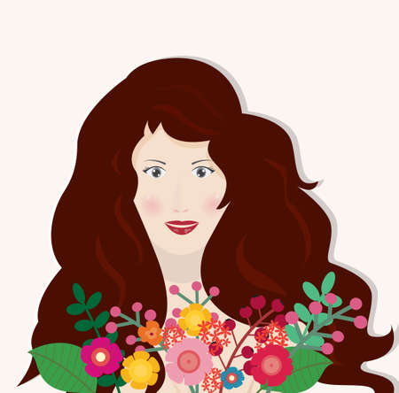 Beautiful woman with flower bouquet,vector illustration.