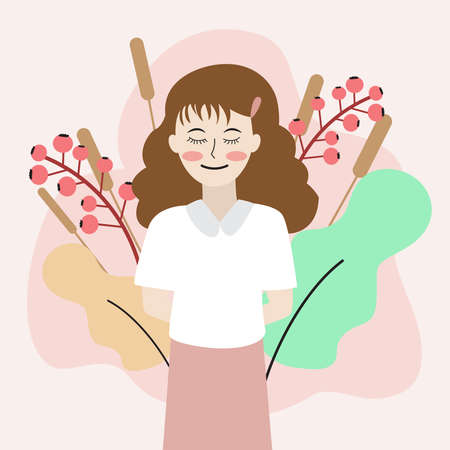 Young woman with smile on flower and leaves background,vector illustration.