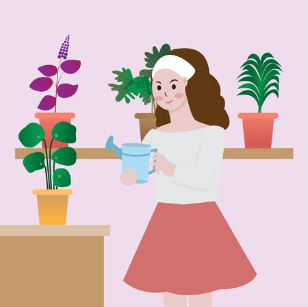 Young woman watering houseplants,vector illustration.