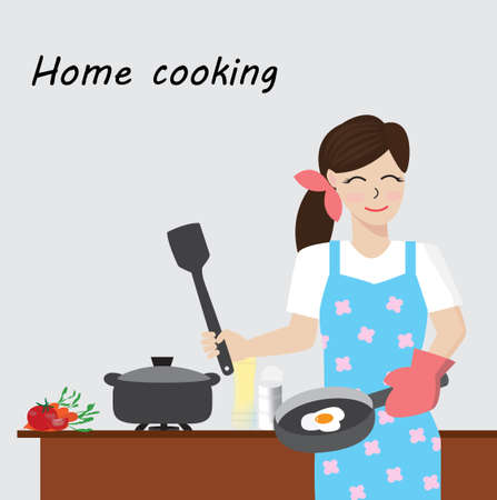 Young woman with blue apron cooking at home,vector illustration. Banco de Imagens - 150754164