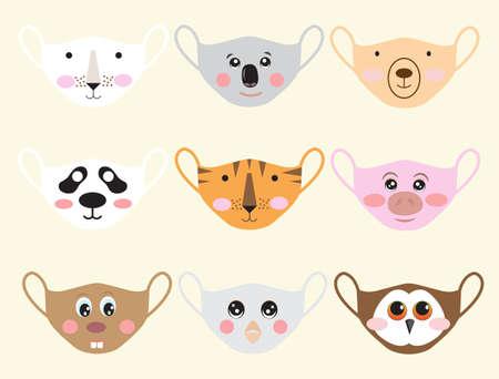 Set of animal face masks to prevent disease ,for kid,vector illustration.