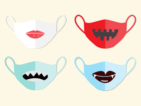 Set of masks to prevent disease ,for Halloween night,vector illustration.