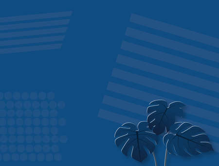 Monstera leaves on blue background,vector illustration.