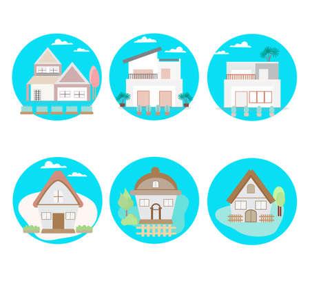 House icon set isolated on white background, vector illustration.