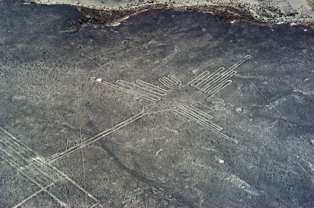 Nazca Lines - The Hummingbird Stock Photo
