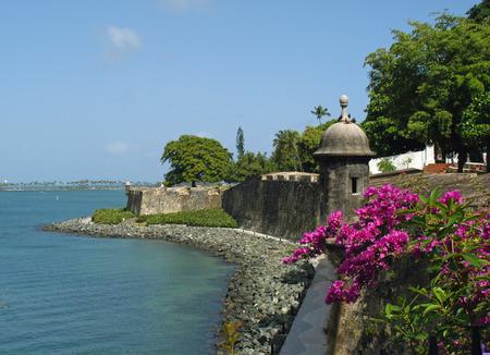 san juan: Sea Wall in Old San Juan, Puerto Rico Stock Photo