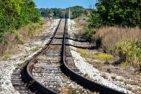 Empty train track Stock Photo