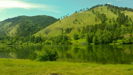 Green forest on the mountain and lake Stock Photo