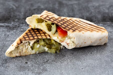 vegetable roll of cabbage, cucumbers and french fries. grilled shawarma