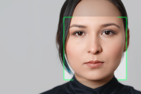Biometric verification woman face recognition detection security.