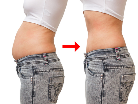 comparison before and after. fat and thin belly. side view, white background