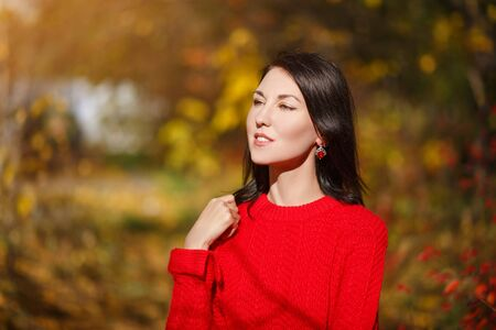 Autumn portrait of a young attractive brunette girl woman in a red sweater Stok Fotoğraf