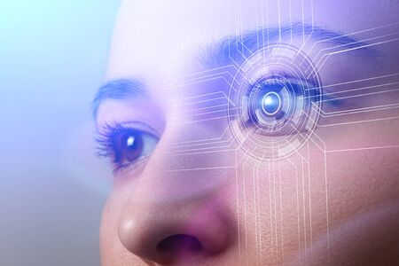 Biometrics concept. Facial Recognition System. Face Recognition. Iris recognition. Cyber eye. Smart Lens.