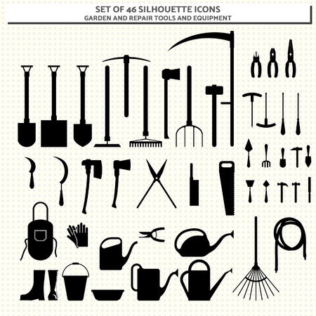 secateurs: Set of 46 silhouette icons of garden and repair tool and equipment Illustration
