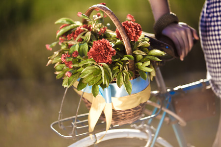 flower basket: Beautiful landscape image with bicycle and flower at sunset