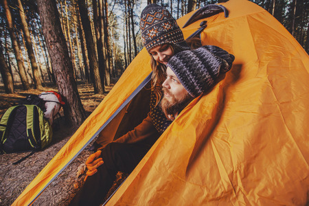 Couple tent camping in the wilderness Stock Photo