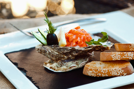 riboflavin: Oyster with salmon fillet in a shell with croutons Stock Photo