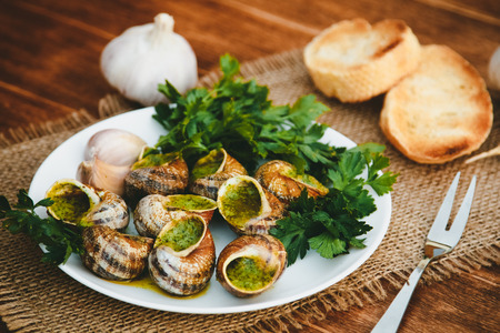 Escargots de Bourgogne - Snails with herbs butter, gourmet dish in French traditional  with parsley and bread on white platter 版權商用圖片 - 71728860