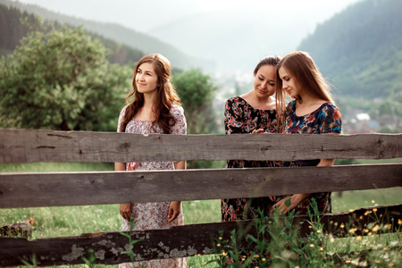 Beautiful girls in long dresses walk in nature near the wooden fence. The concept of travel and leisure Stock Photo