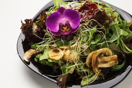 Delicious vegetable salad mixed with mushrooms, greens,  sprouts, lettuce on plate  Stock Photo