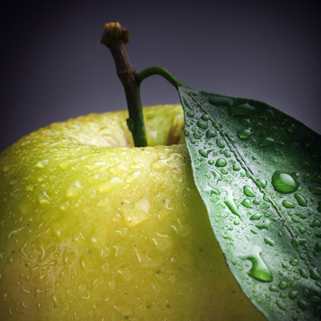 Large beautiful green apple with a leaf and water drops on a dark background