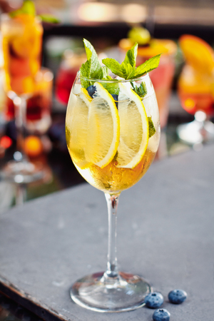 Beautiful orange cocktail Aperol Syringe with ice cubes Фото со стока