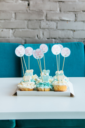 Beautiful blue and white cupcakes with the words hen party Stock Photo