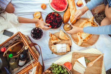 Picnic con frutta, formaggio, pane tostato, miele, vino con un cesto di vimini e una coperta. Bello fondo di estate con la ragazza e prodotti sulla natura Archivio Fotografico - 84633442