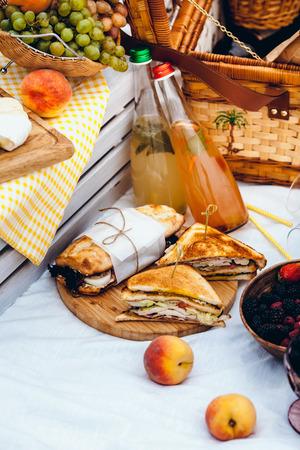 Conjunto de picnic con frutas, queso, tostadas, miel, vino con una canasta de mimbre en colcha. Fondo de verano hermoso con comida y bebida en la naturaleza Foto de archivo - 84786627