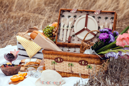 Picnic set with fruit, cheese, toast, honey, wine with a wicker basket on bedspread. Beautiful summer background with food and drink on nature