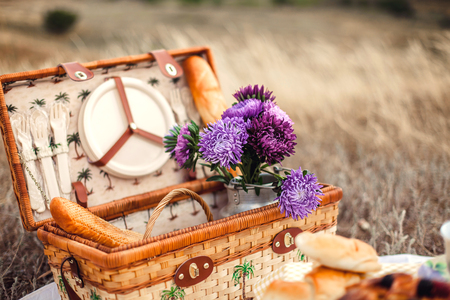 bedspread: Picnic set with fruit, cheese, toast, honey, wine with a wicker basket on bedspread. Beautiful summer background with food and drink on nature