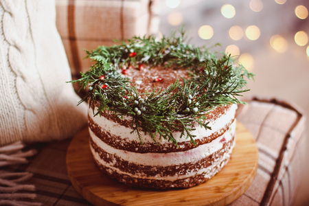 Beautiful and delicious special cake-a cake in the Christmas background