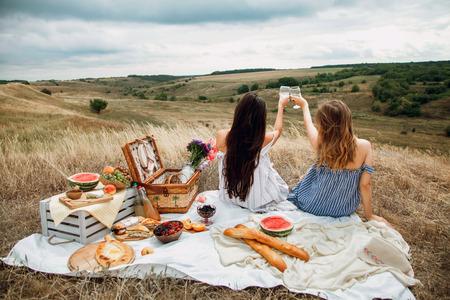 Schöne Freundinnen der jungen Mädchen auf einem Picknick an einem Sommertag. Das Konzept der Freizeit, Privatsphäre, Kommunikation, Urlaub, Tourismus Standard-Bild - 89663620