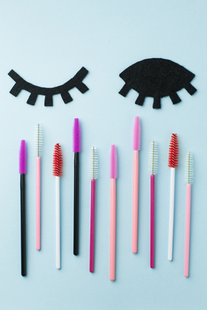 The brush lash, comb, help to keep the shape, also used in eyelash extension application Stock Photo