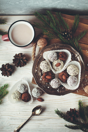 chocolate pralines with coconut and almonds Stock Photo - 95763511