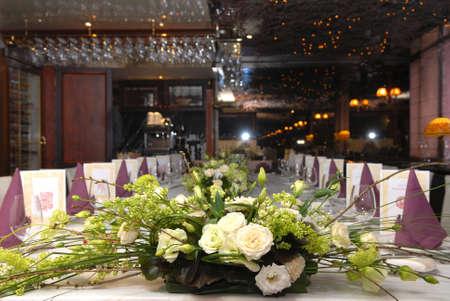 flowers in restaurant photo