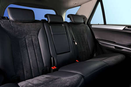 car interior, passenger places with leathet and suede sofa