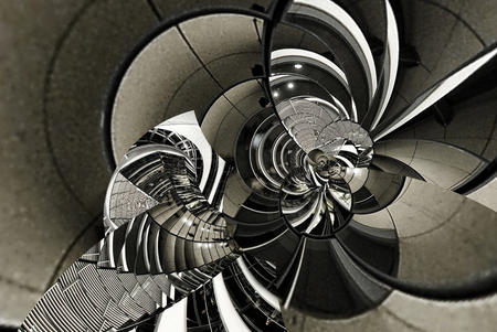 Abstract vintage texture architecture spiral of stairs, staircase, glass, metal, steel. Circle round curve line geometry. Fractal abstract architecture geometric background. Gray scale, toning Stock Photo
