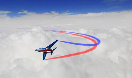 airpower: FRANCE, JUN, 24: Flight of two pilots jet plane Alfa jet Patrouille de France in blue sky clouds with smoke trails of red and blue colors. Air France aviation air force aerobatic Editorial