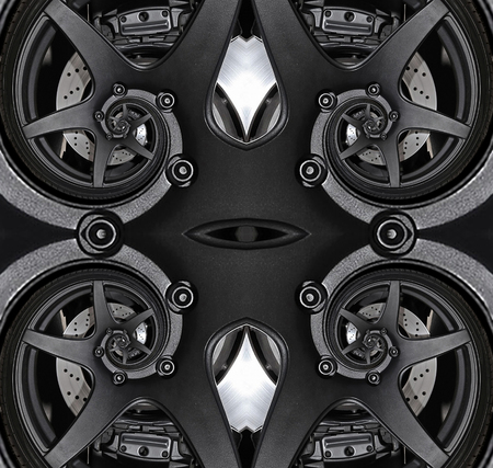 Seamless pattern sport car wheel automobile brake disk tire spiral effect abstract pattern background. Four automotive abstract car wheel disk tire spiral pattern background. Car wheel disk spokes