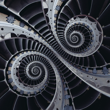 Turbine blades wings double coil spiral effect abstract fractal pattern background. Double strand spiral industrial production metallic turbine background. Turbine stairs staircase abstract fractal